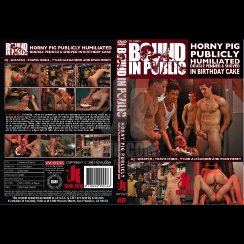 Bound in Public 22 - Horny pig publicly Humiliated, Double Penned & shoved in birthday Cake - KINK-BIP-022