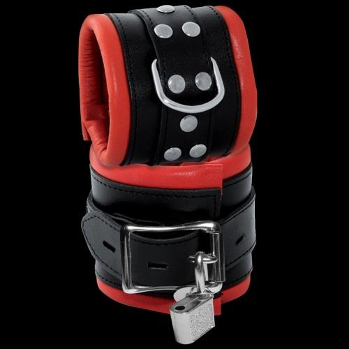 Zeer luxe stevige zwart-rode rundlederen afsluitbare polsboeien - OS-0102-2RK